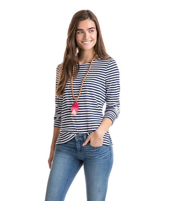 Long-Sleeve Stripe Knit Top