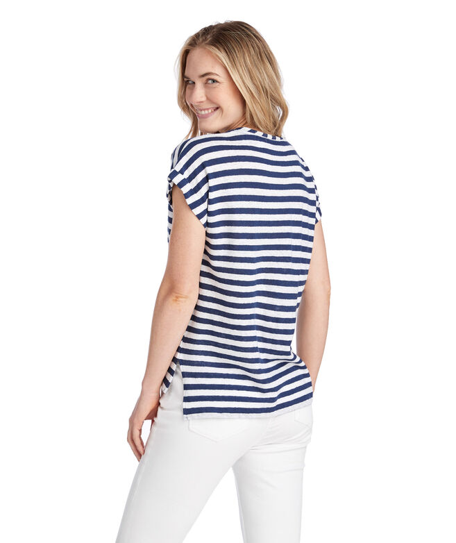Stripe Linen Blend Roll Sleeve Tee