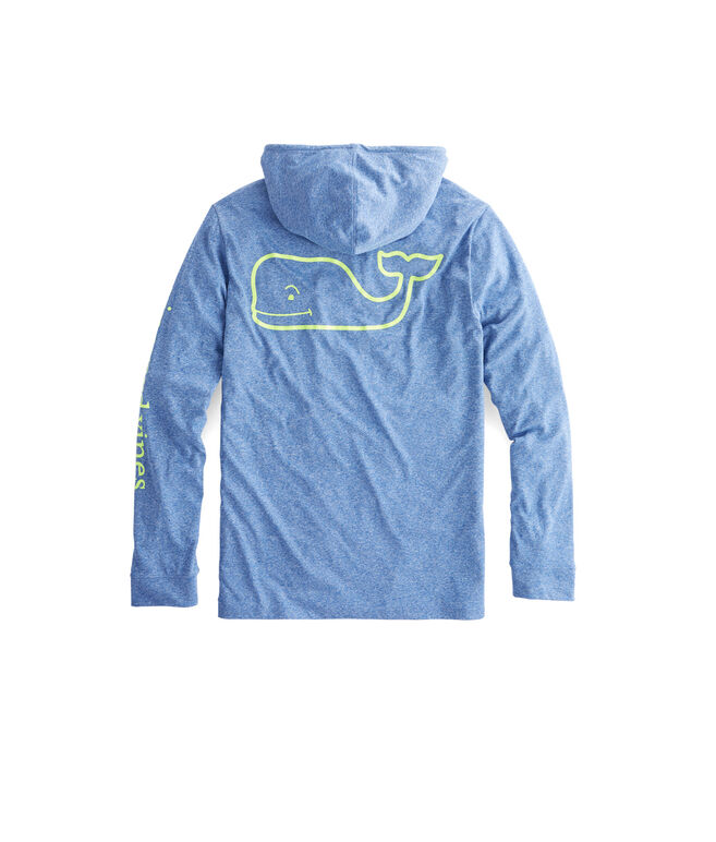 Long-Sleeve Heather Whale Hoodie Performance T-Shirt