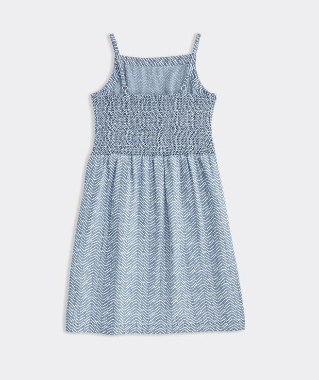 Girls' Printed Chambray Smocked-Back Dress