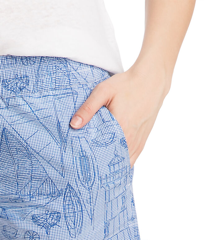 Boat Schematic Printed Pull On Shorts