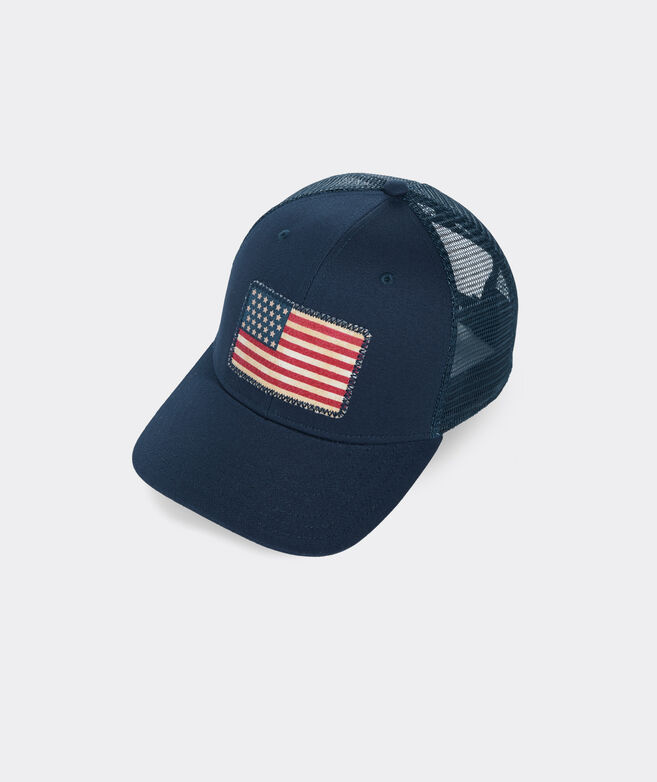 Distressed Flag Patch Trucker Hat