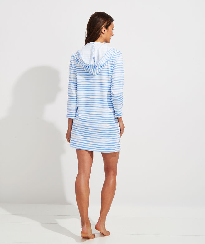 Painted Stripe Hoodie Cover-Up