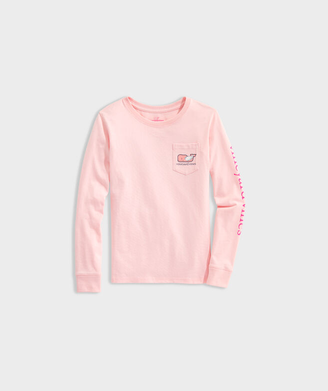 Girls' Valentines Day Whale Long-Sleeve Pocket Tee