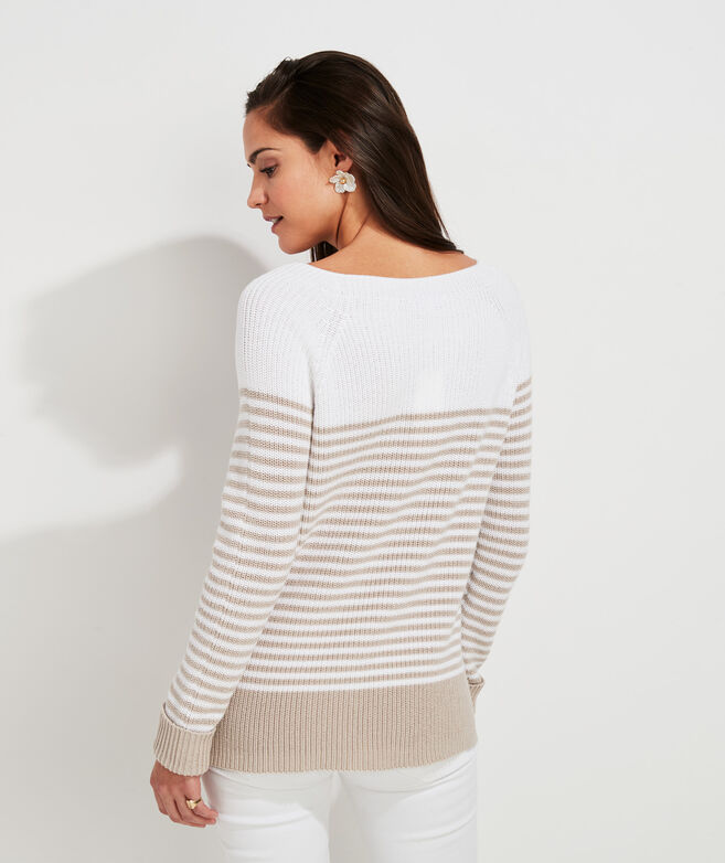 Placed Stripe Cotton Sweater