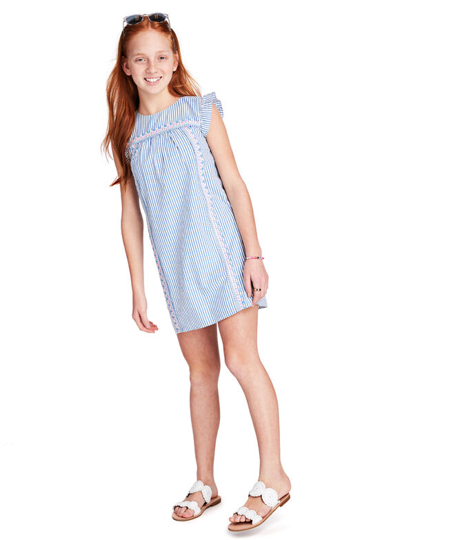 Girls Seersucker Embroidered Shift Dress