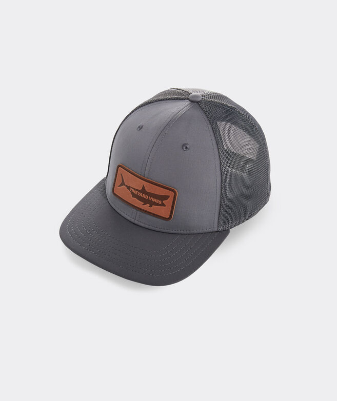 Leather Shark Patch Performance Trucker Hat