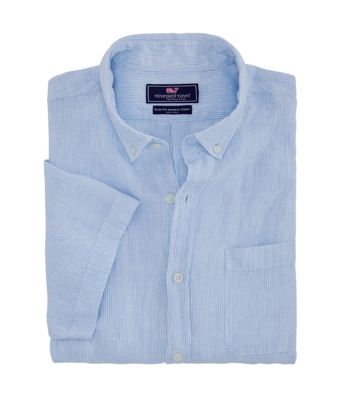Short-Sleeve Linen Striped Classic Murray Shirt