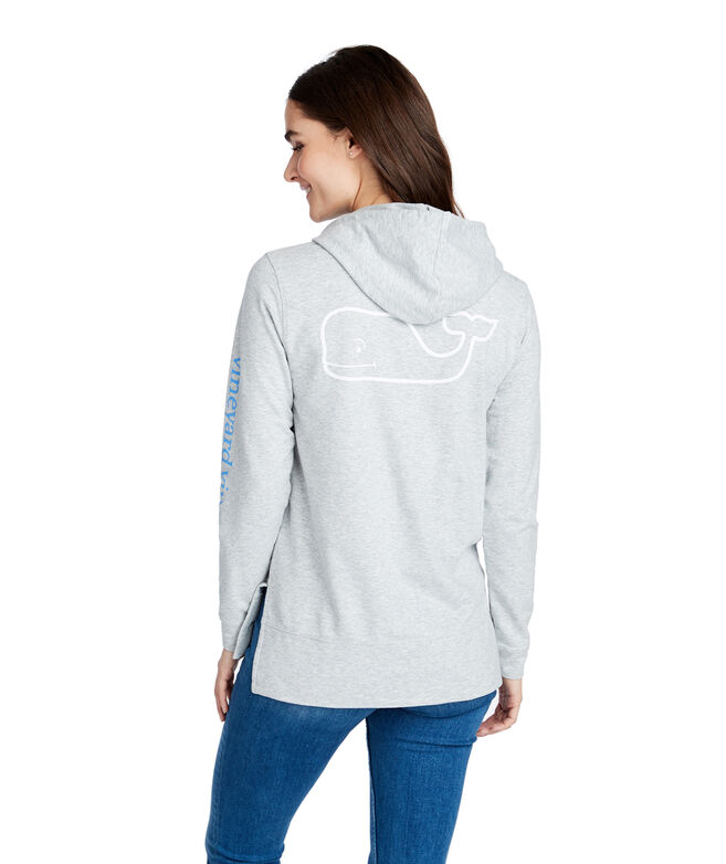 Tri Color Vintage Whale French Terry Hoodie Sweatshirt