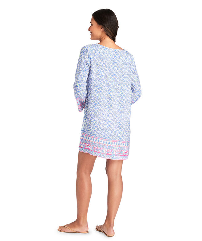 Coral Border Tunic Cover-Up