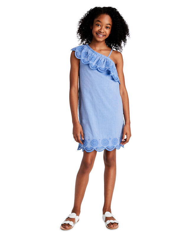 Girls One-Shoulder Woven Eyelet Dress