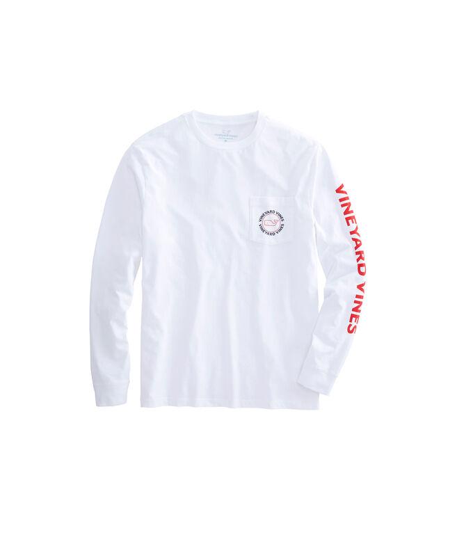 Long-Sleeve Outline Red, White, Blue Whale Dot Pocket T-Shirt