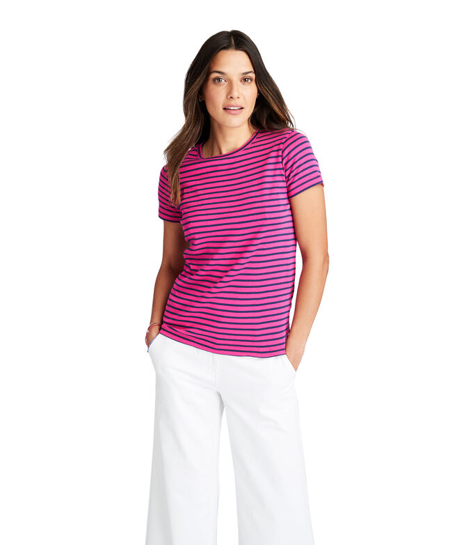 OUTLET Women's Striped Simple Short Sleeve Tee