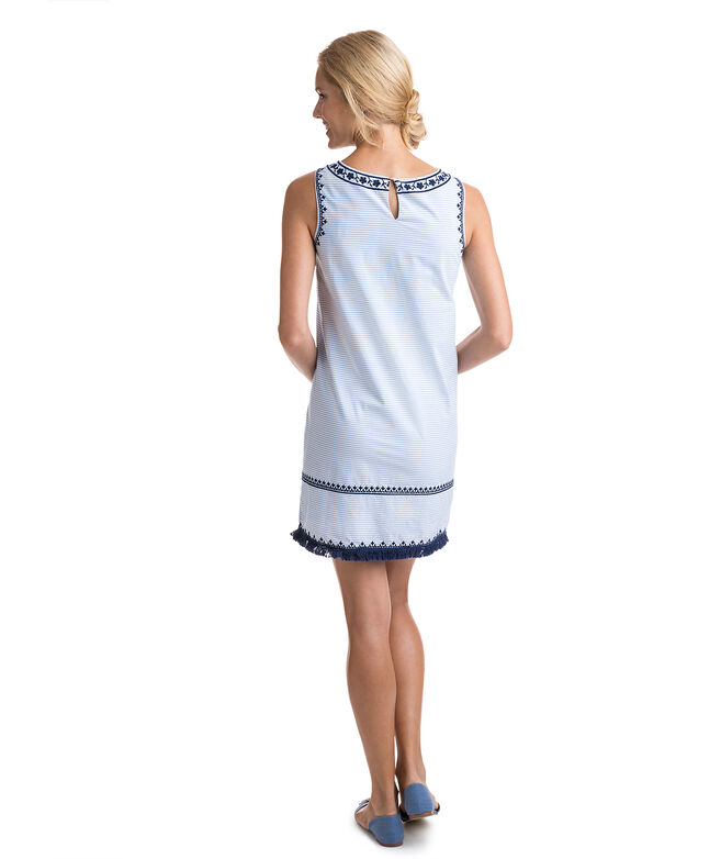 Breezy Stripe Embroidered Shift Dress