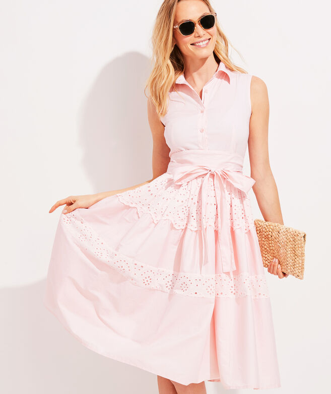 Palm Beach Lately Tiered Eyelet Shirt Dress