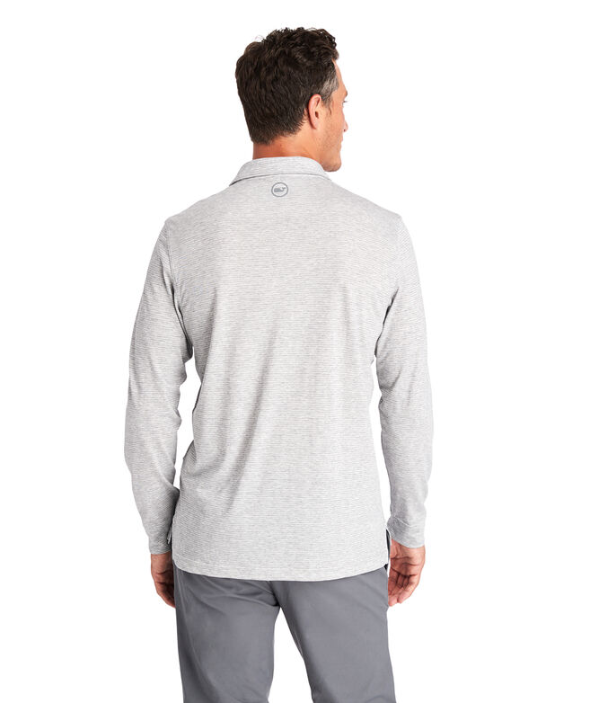 Carmel Heathered Wide Stripe Long-Sleeve Polo