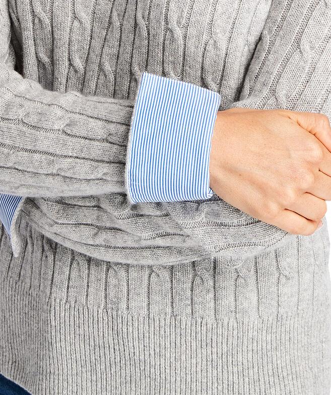Striped Cuff Coral Lane Cashmere Sweater