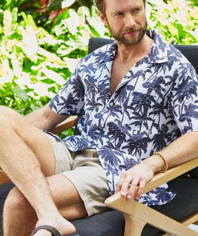 Linen Short-Sleeve Bahia Palm Cabana Shirt