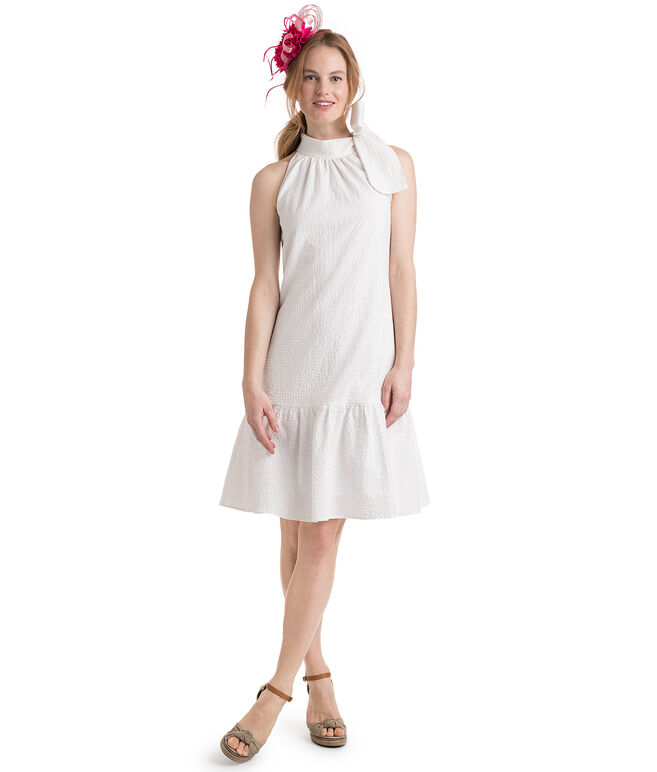 Seersucker Flounce Tie Neck Dress