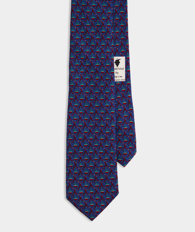 Crossed Skis & Lift Printed Tie