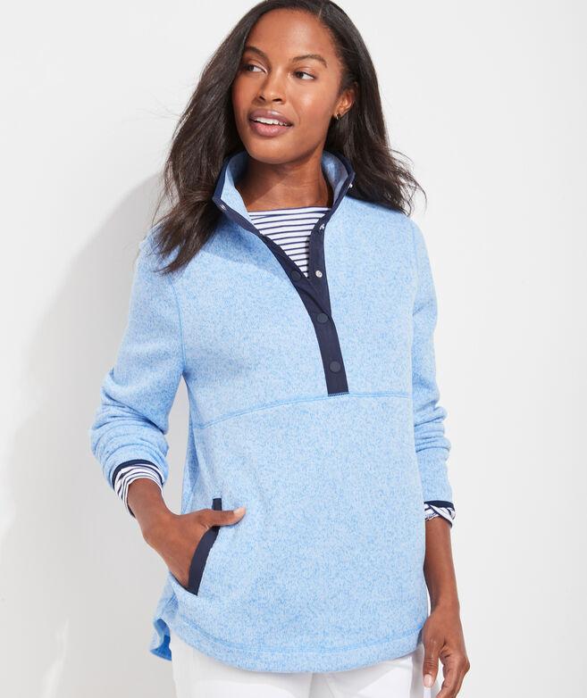 Sweater Fleece Snap-Placket Pullover