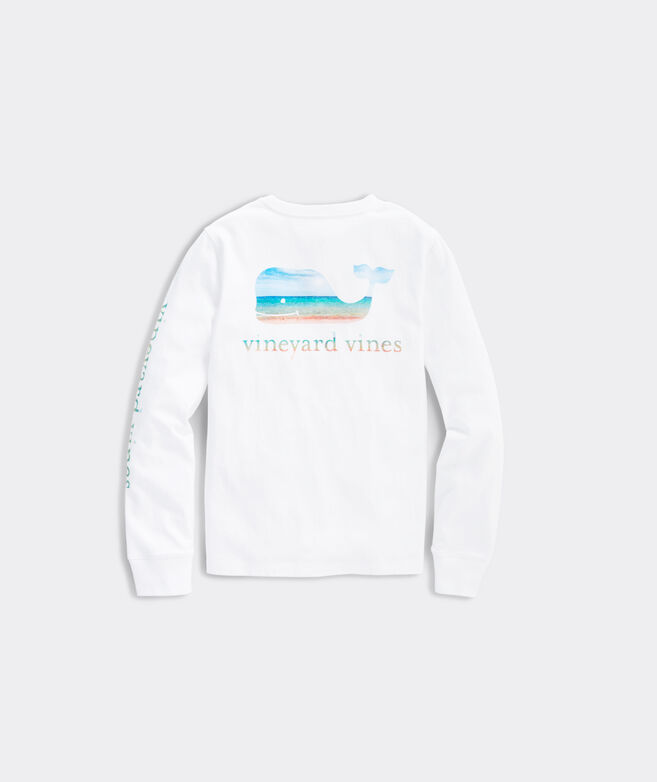 Girls' Glitter Ocean Whale Long-Sleeve Pocket Tee