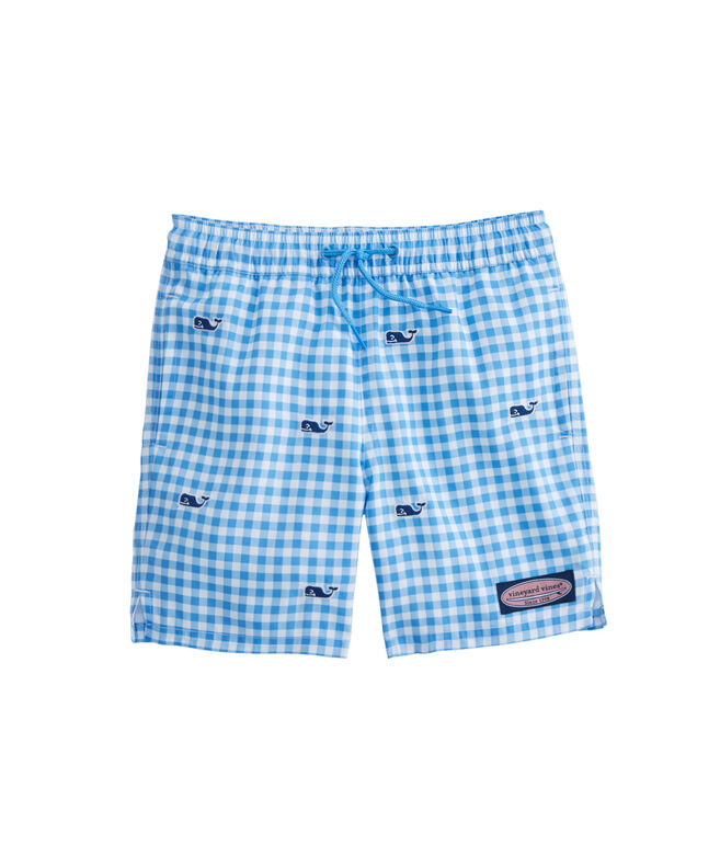 Boys Gingham Whale Embroidered Chappy Trunks