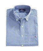 Contrast Thread Walkaround Gingham Performance Slim Tucker Shirt