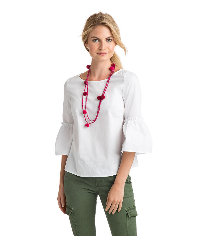 Solid Bell Sleeve Top