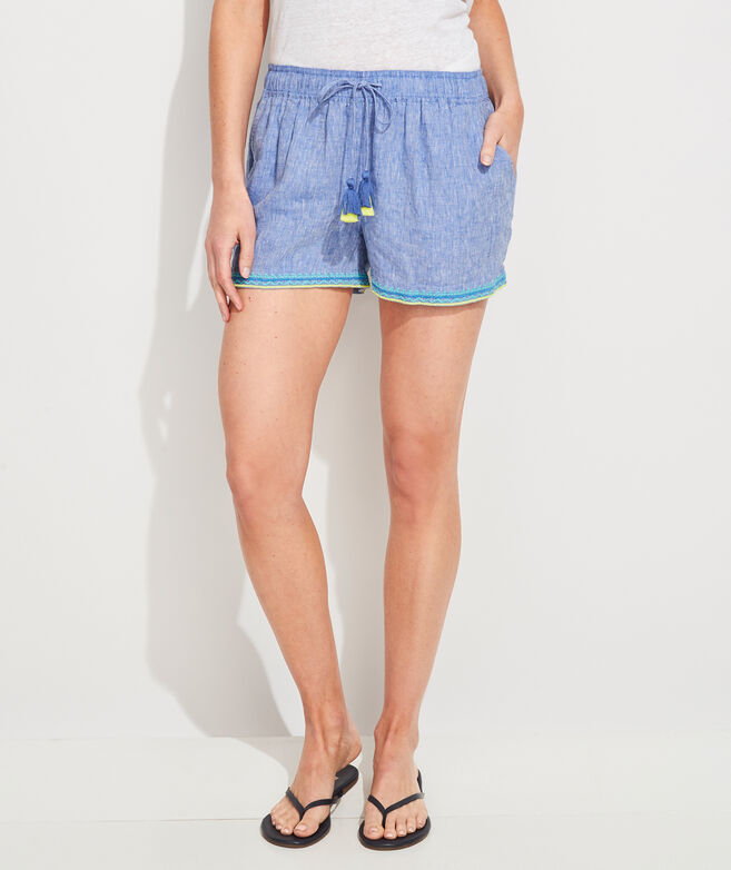 Linen Embroidered Pull-On Shorts