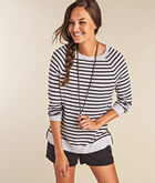Striped Zip Back Crewneck Sweater