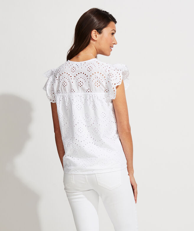 Eyelet Flutter-Sleeve Top