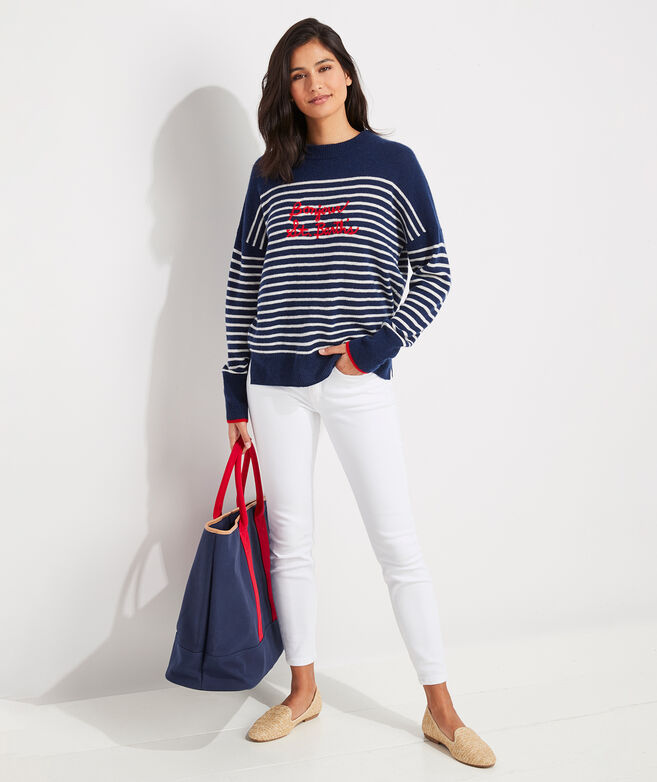 Lofty Stripe Embroidered Cashmere Crewneck Sweater