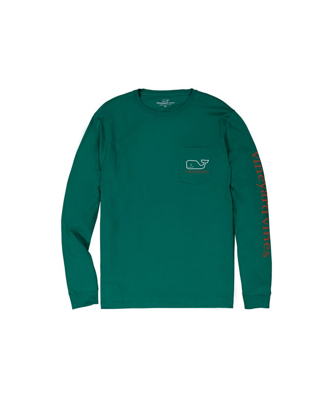 Two Color Whale Long-Sleeve Pocket Tee