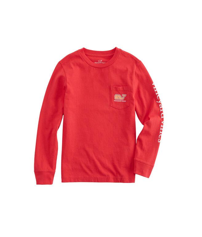 Boys Long-Sleeve Basketball Character Whale Pocket T-Shirt