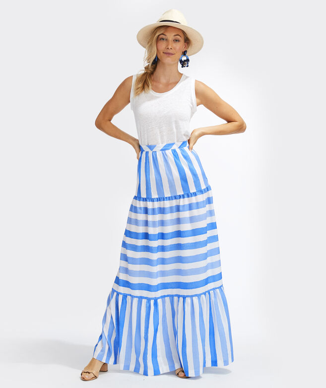 Tiled Stripe Maxi Skirt