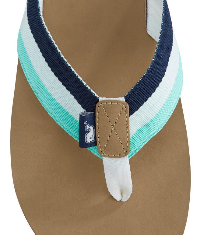 Leather Grosgrain Ribbon Flip Flops