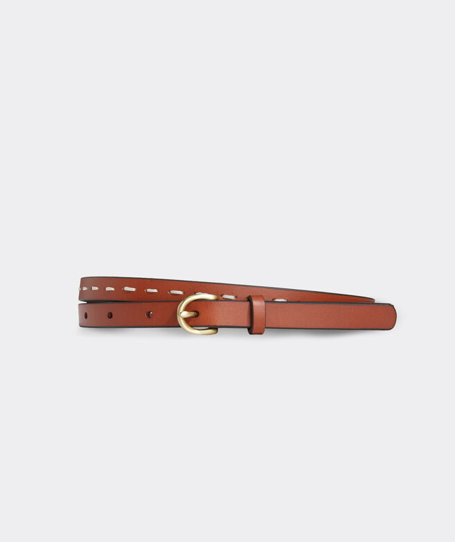 Skinny Stitched Leather Belt