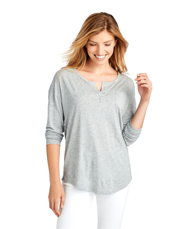 Long-Sleeve Heathered Cozy Henley Tee