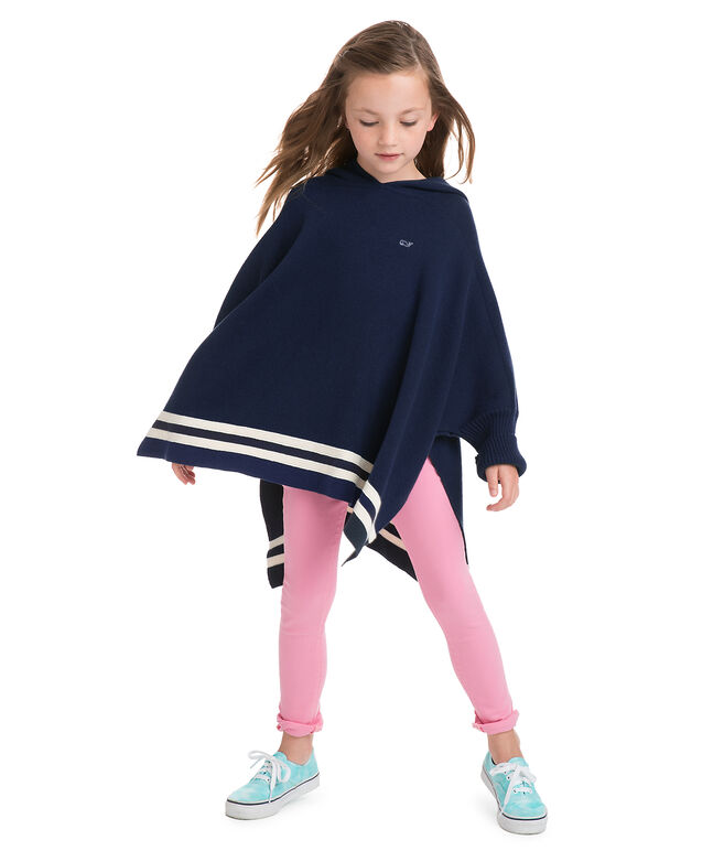 Girls Hooded Sweater Poncho