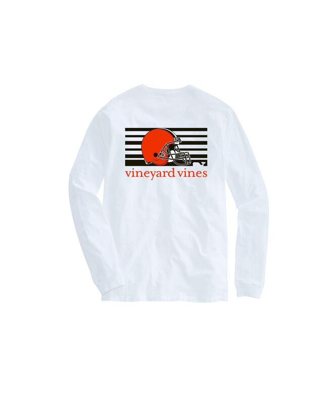 Adult Browns Long-Sleeve Block Stripe T-Shirt