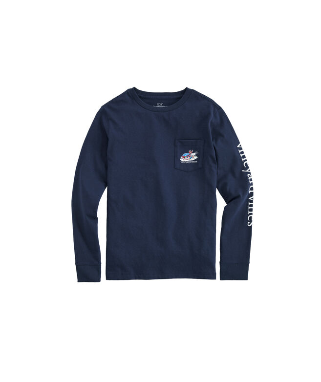 Boys Ski Race Whale Long-Sleeve Pocket T-Shirt