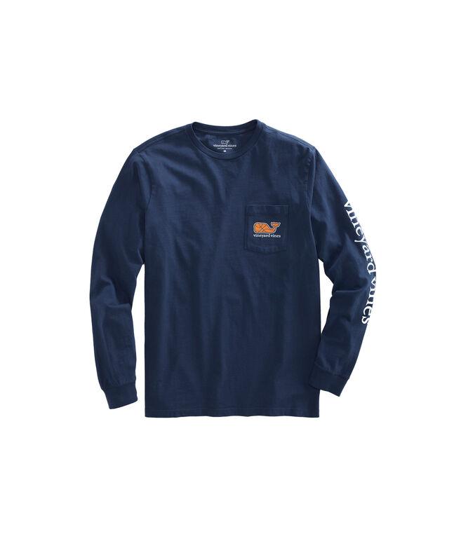 Long-Sleeve Basketball Character Whale Pocket T-Shirt