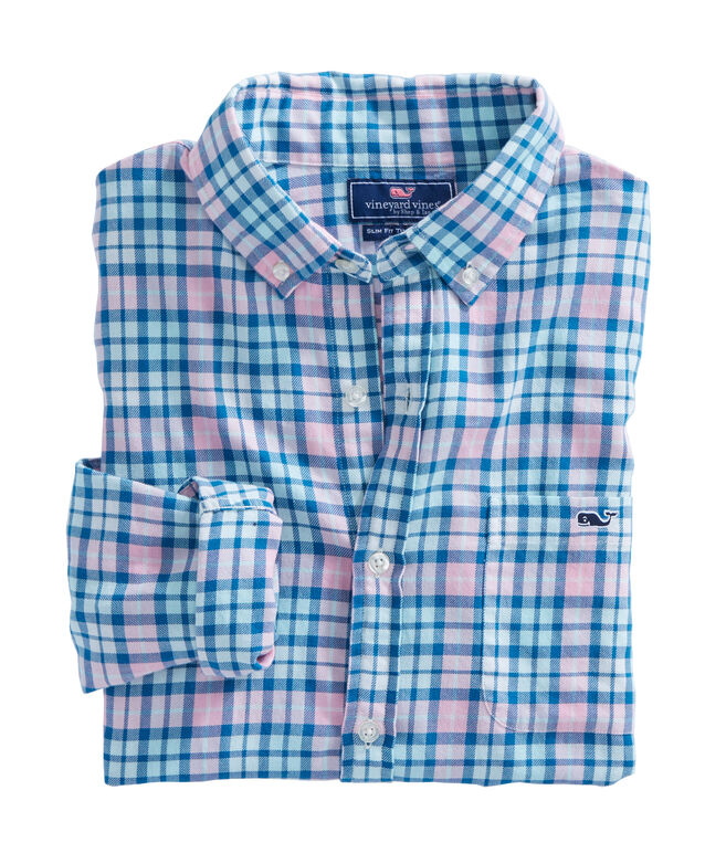 Noisette Rose Plaid Performance Flannel Slim Tucker Shirt