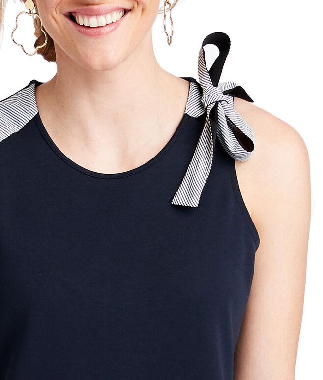 Bow Shoulder Mixed Media Dress