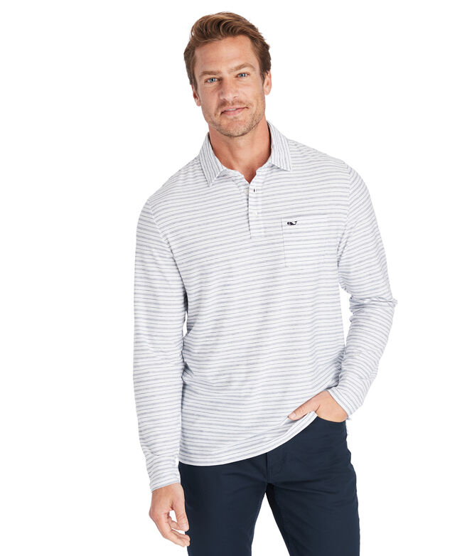 Reverse Feeder Stripe Edgartown Long-Sleeve Polo