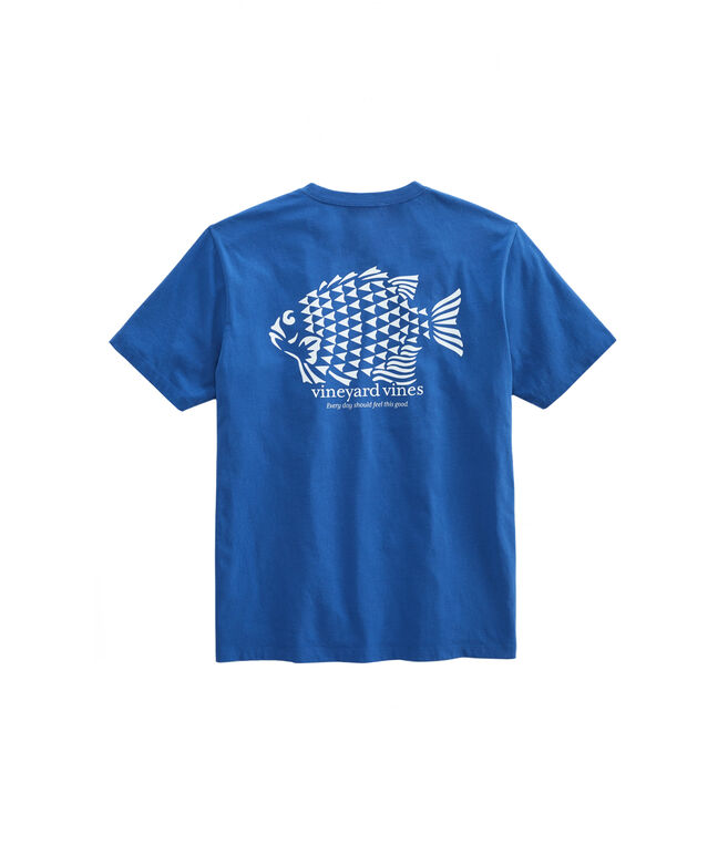 Fish Stamp Short-Sleeve Pocket T-Shirt