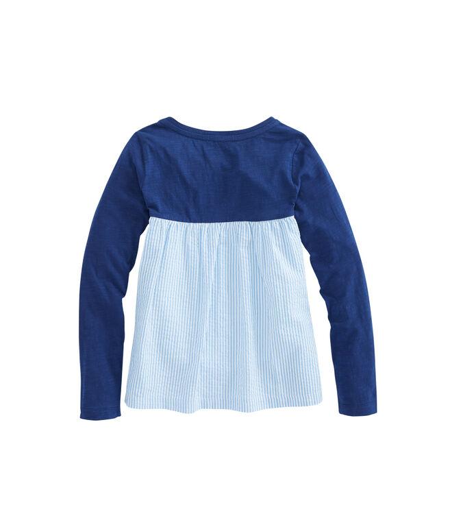 Girls Long-Sleeve Seersucker Knit Top