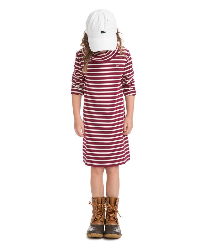 Girls Stripe Cowl Neck Dress