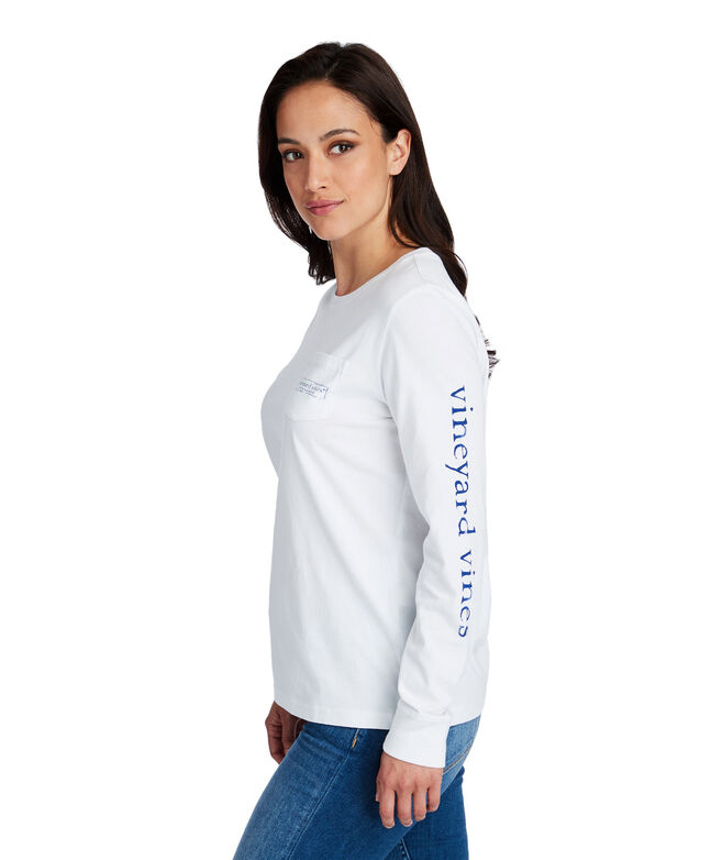 Long-Sleeve Hydrangea Logo Box Pocket Tee
